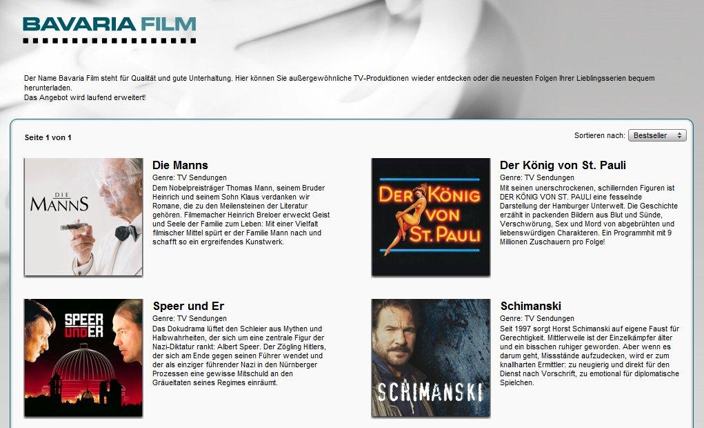 Filme der Bavaria bei iTunes