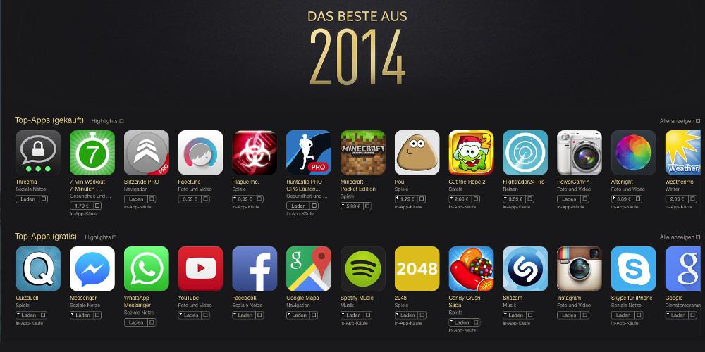 App Charts 2014 Beliebtesten Apps
