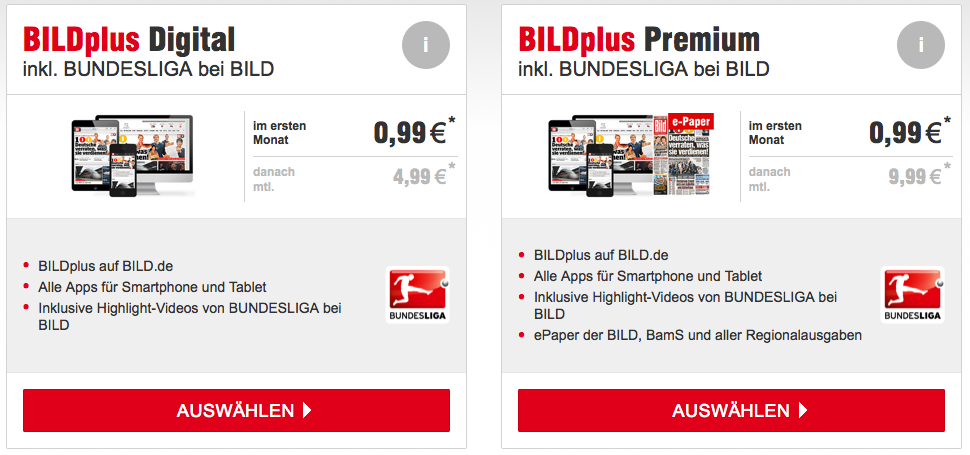 Paid Content beim Springer Verlag mit Bild Plus
