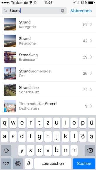 iOS 10 Fotos Suche Schlagworte