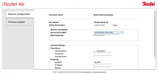 Browser-Menü zur Einrichtung einer iTeufel Air im WLAN