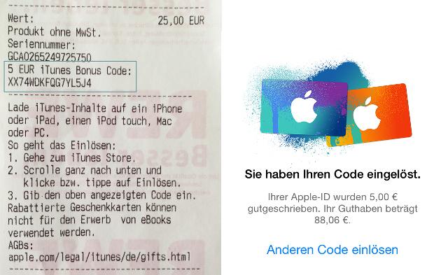 Rewe iTunes Bon-Code auf dem Kassenbon - iTunes Guthabenkarten