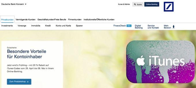Deutsche Bank iTunes Guthaben Rabatt