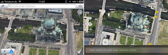 Karten iOS 10 Flyover 3D Satellit