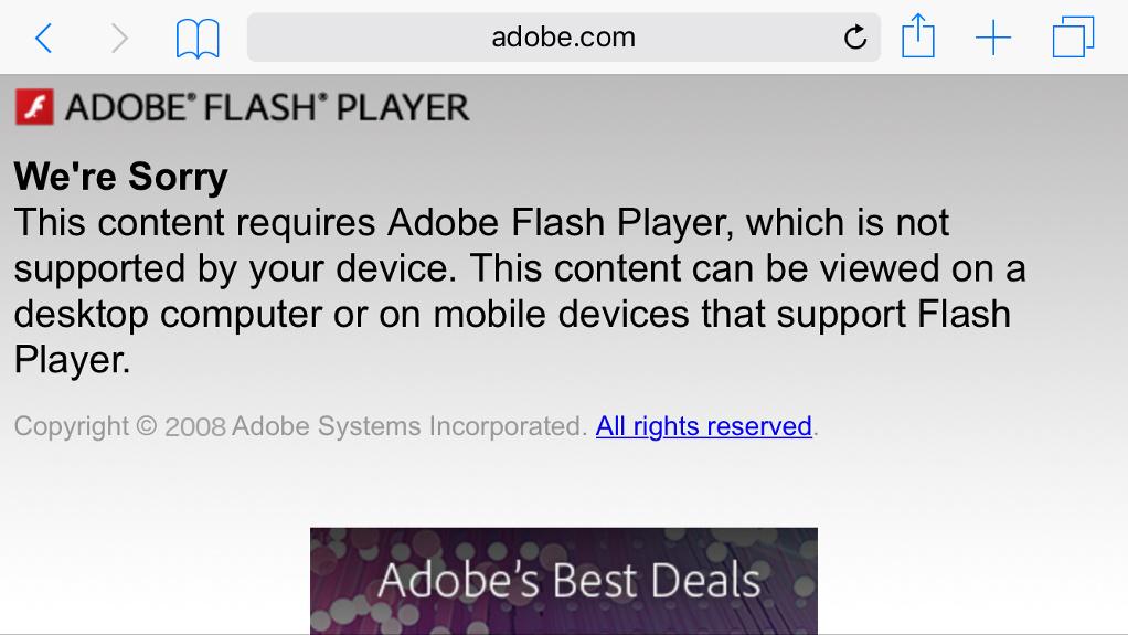 Kein Flash auf dem iPhone