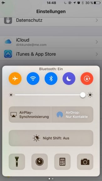 Kontrollzentrum iOS 10