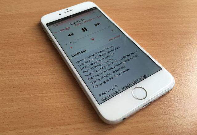 iPhone iOS 10 Liedtexte anzeigen