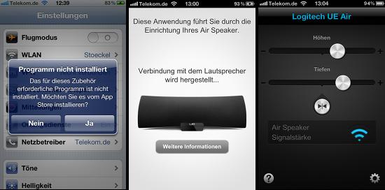 Der Logitech-Lautsprecher zeigt an, welche App benötigt wird, die dann den Nutzer durch die Installation führt
