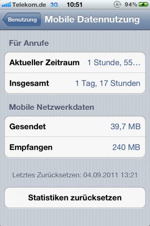 Kontrolle der mobilen Datennutzung in iOS 5