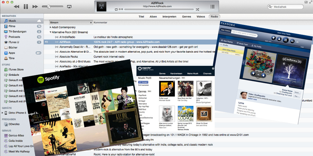 Apple iTunes Musik Streaming, Napster, Pandora und Spotify