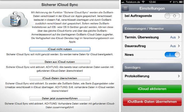 Verschlüsselte Daten in der iCloud für OutBank auf allen Geräten
