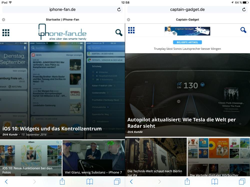 iOS 10 geteilter Bildschirm iPad