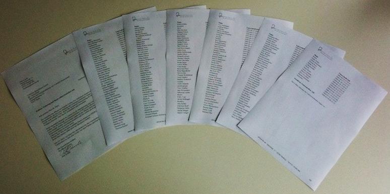 Siebenseitige Petition mit 228 Unterschriften an T-Mobile