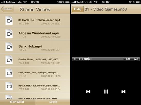 Per App auf Filme und Musik auf dem MyBook zugreifen als auch wiedergeben