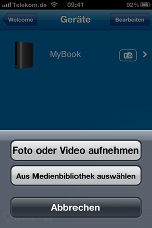 Fotos und Video mit der App WD Photos aufnehmen und verwalten